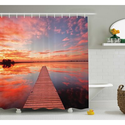 Pier Over Lake with Sky Decor Shower Curtain Size: 69 H x 75 W