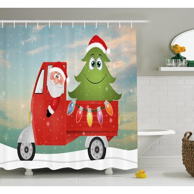 Christmas Santa on the Car Shower Curtain Size: 69 H x 84 W