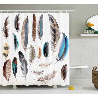 Feather Setting Decor Shower Curtain Size: 69 H x 75 W