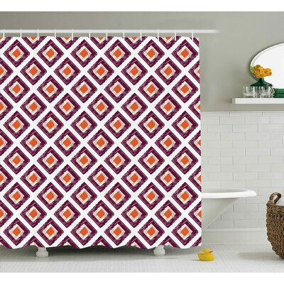Triangles Squares Mosaic Shower Curtain Size: 69 H x 75 W