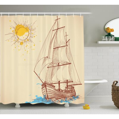 Sailing Boat Nautical Decor Shower Curtain Size: 69 H x 84 W