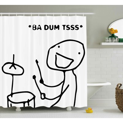 Stickman Plays Drums Decor Shower Curtain Size: 69 H x 84 W