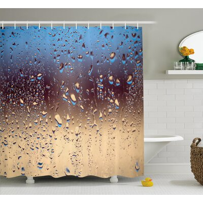 Rain Drops on Glass Decor Shower Curtain Size: 69 H x 84 W