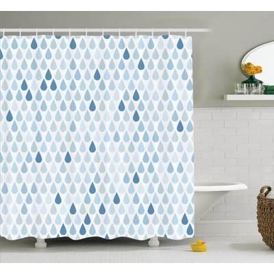 Rain Drops Motive Decor Shower Curtain Size: 69 H x 84 W