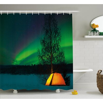 Camping Under Magnetic Field Shower Curtain Size: 69
