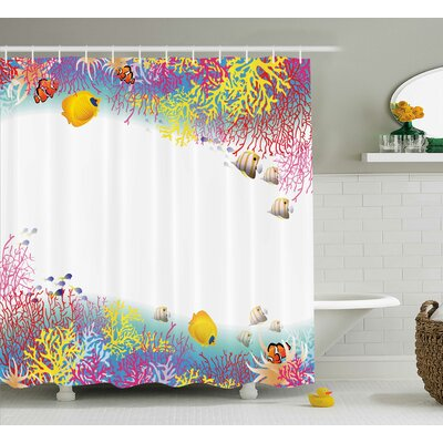 Clovis Life Underwater Decor Shower Curtain Size: 69 H x 70 W