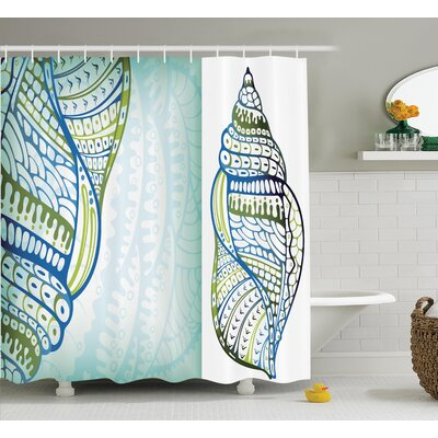 Snail Seashell Shower Curtain Size: 69 H x 84 W
