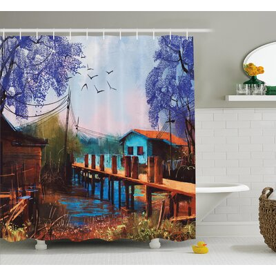Fishing Village with Old Bridge Decor Shower Curtain Size: 69 H x 84 W