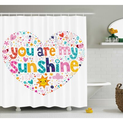 Heart shaped Quotes Decor Shower Curtain Size: 69 H x 84 W