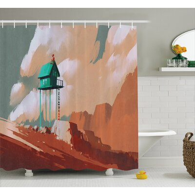 Little Wood House On Stone Hill Decor Shower Curtain Size: 69 H x 75 W
