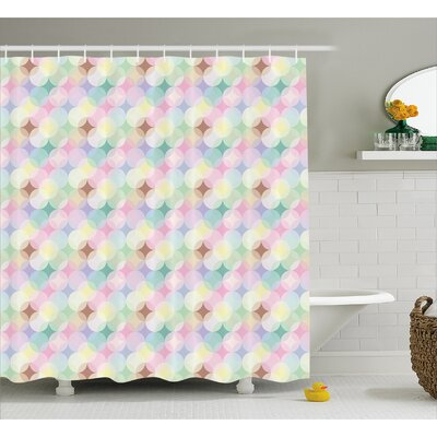 Circle Star Decor Shower Curtain Size: 69 H x 70 W