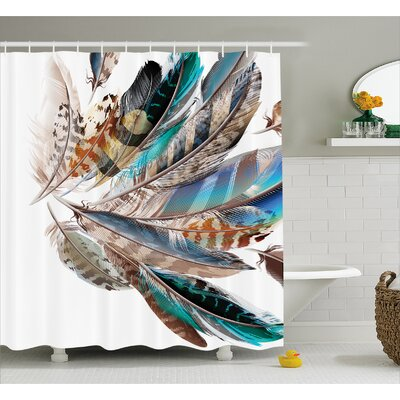 Contour Flight Feathers Decor Shower Curtain Size: 69 H x 84 W