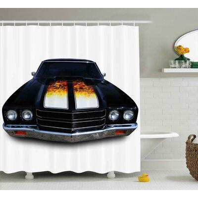Car With Fire Shower Curtain Size: 69 H x 70 W
