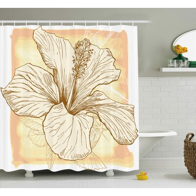 Hibiscus Flower Shower Curtain Size: 69 H x 75 W