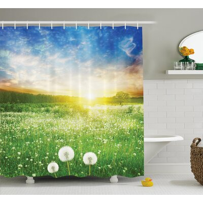Spring Flower Field Shower Curtain Size: 69 H x 70 W