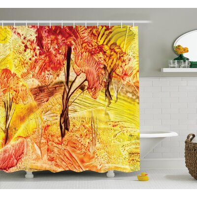 Idyllic Field with Autumn Tree Decor Shower Curtain Size: 69 H x 75 W
