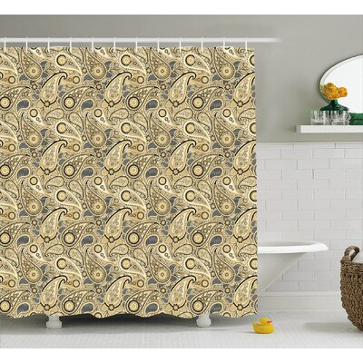Flowers Leaves with Stripes Decor Shower Curtain Size: 69 H x 75 W