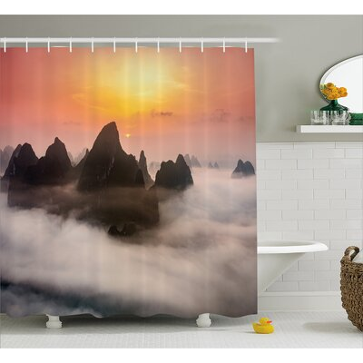 Chinese Mountains Decor Shower Curtain Size: 69 H x 70 W
