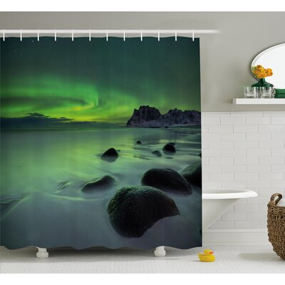 Mist Sky Shower Curtain Size: 69 H x 70 W