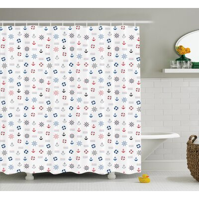 Eboni Nautical Decor Shower Curtain Size: 69 H x 70 W