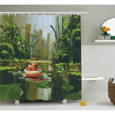 Toy Boat Decor Shower Curtain Size: 69 H x 75 W