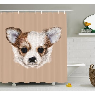 Puppy Portrait Shower Curtain Size: 69 H x 70 W