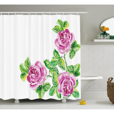 Menyauthe Flower House Decor Shower Curtain Size: 69 H x 75 W
