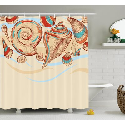 Mollusk Shower Curtain Size: 69 H x 70 W