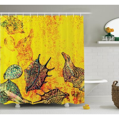Stylized Seashells Shower Curtain Size: 69 H x 70 W