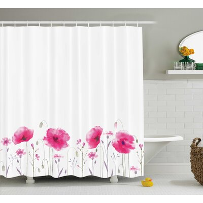 Poppy Flower Decor Shower Curtain Size: 69 H x 75 W