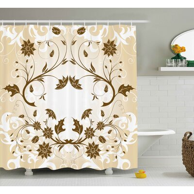 Swirled Petals Leaf Shower Curtain Size: 69 H x 70 W
