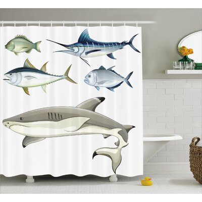 Fish Predators Decor Shower Curtain Size: 69 H x 84 W