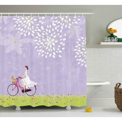 Girl Riding Bike Shower Curtain Size: 69 H x 70 W