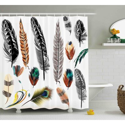 Bird Feathers Decor Shower Curtain Size: 69 H x 70 W