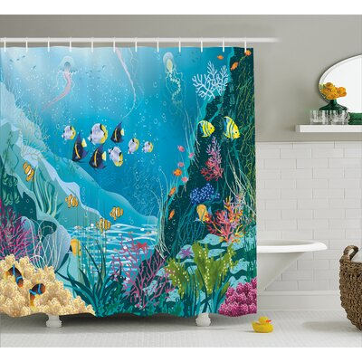 Underwater Landscape Decor Shower Curtain Size: 69 H x 84 W