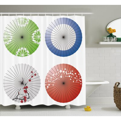 Japanese Umbrella  Decor Shower Curtain Size: 69 H x 70 W