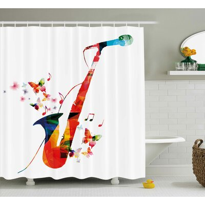 Colorful Saxophone Shower Curtain Size: 69 H x 84 W