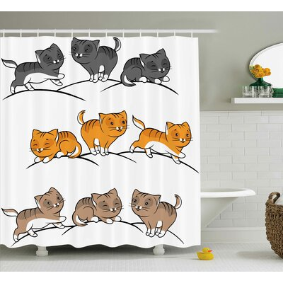 Sleeping Playing Smiling Shower Curtain Size: 69 H x 70 W