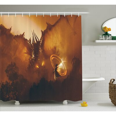 Dragon Magician Decor Shower Curtain Size: 69 H x 75 W