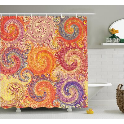 Swirl Decor Shower Curtain Size: 69 H x 70 W