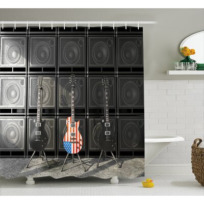 Bass Guitar Decor Shower Curtain Size: 69 H x 84 W