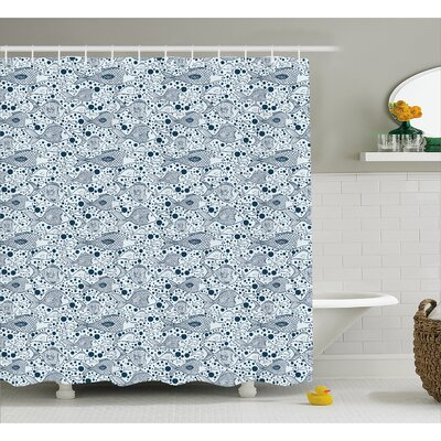 Fish with Bubbles Water Decor Shower Curtain Size: 69 H x 75 W
