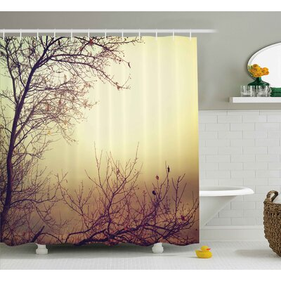 Vintage Leafless Shower Curtain Size: 69 H x 75 W