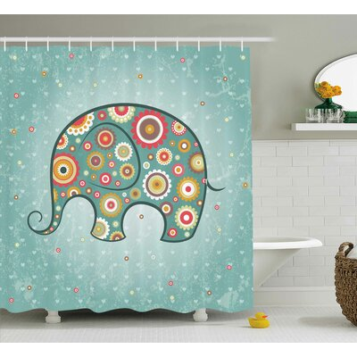 Elephant Shower Curtain Size: 69 H x 70 W