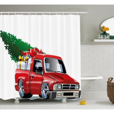 Pickup Truck Shower Curtain Size: 69 H x 70 W