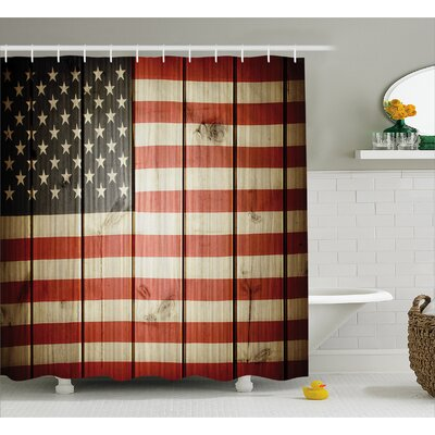 Vertical Striped Flag Decor Shower Curtain Size: 69 H x 84 W