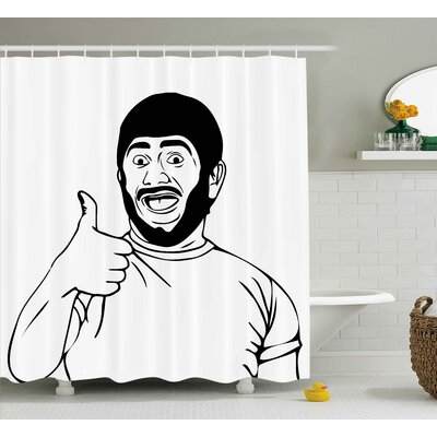 Thumbs Up Decor Shower Curtain Size: 69 H x 70 W