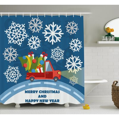 Christmas Truck with Big Boxes Tree Shower Curtain Size: 69 H x 84 W