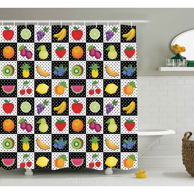 Dots Chess Squares Shower Curtain Size: 69 H x 70 W