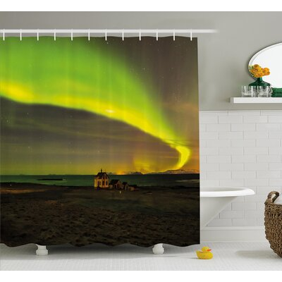 Celestial Aurora Shower Curtain Size: 69 H x 84 W